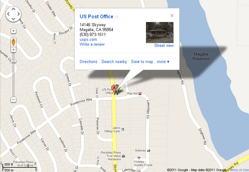 Map of US Post Office, Magalia, CA